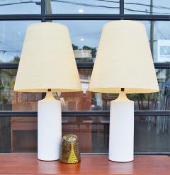 Lotte Gunnar Bostlund Pair of White Ceramic Cylinder Lamps w Orig Shades by Lotte Bostlund - 2099157