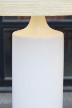 Lotte Gunnar Bostlund Pair of White Ceramic Cylinder Lamps w Orig Shades by Lotte Bostlund - 2099173