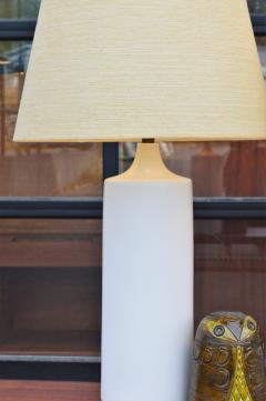 Lotte Gunnar Bostlund Pair of White Ceramic Cylinder Lamps w Orig Shades by Lotte Bostlund - 2099179