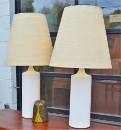 Lotte Gunnar Bostlund Pair of White Ceramic Cylinder Lamps w Orig Shades by Lotte Bostlund - 2099182