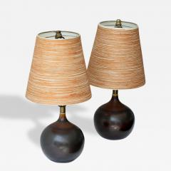lotte and gunnar bostlund 1960s hand painted pair of ceramic table lamps with original fiber glass