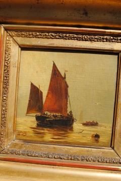 Louis Bentabole 19th c Marine Oil Red Sail Louis Bentabole - 1070127