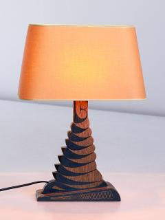 Louis Bogtman Louis Bogtman Batiked Oak Table Lamp with Yellow Gold Shade Netherlands 1925 - 1733989