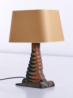 Louis Bogtman Louis Bogtman Batiked Oak Table Lamp with Yellow Gold Shade Netherlands 1925 - 1733992