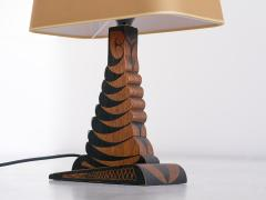 Louis Bogtman Louis Bogtman Batiked Oak Table Lamp with Yellow Gold Shade Netherlands 1925 - 1734009
