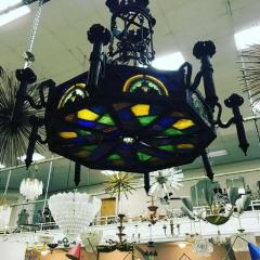 Louis Comfort Tiffany MONUMENTAL GOTHIC IRON AND ORNATE STAINED GLASS PANEL CHANDELIER - 1259321