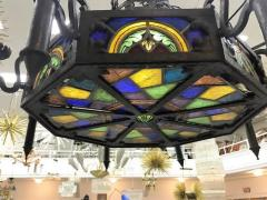 Louis Comfort Tiffany MONUMENTAL GOTHIC IRON AND ORNATE STAINED GLASS PANEL CHANDELIER - 1259325