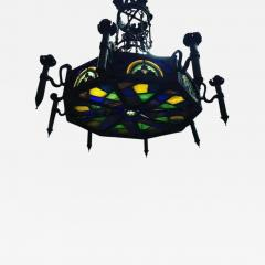 Louis Comfort Tiffany MONUMENTAL GOTHIC IRON AND ORNATE STAINED GLASS PANEL CHANDELIER - 1262766
