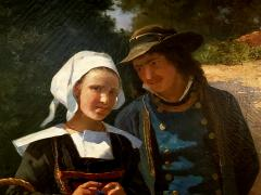 Louis Deschamps Portrait of a French Couple in a Forest Landscape circa 1885 - 1152917