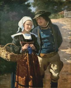 Louis Deschamps Portrait of a French Couple in a Forest Landscape circa 1885 - 1152918