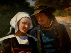 Louis Deschamps Portrait of a French Couple in a Forest Landscape circa 1885 - 1152921