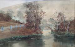 Louis Kinney Harlow Bridge River and Farm New England - 1658911
