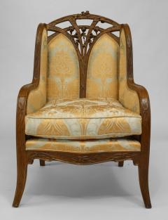 Louis Majorelle French Art Nouveau Walnut Bergere Armchair - 422138