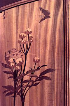 Louis Majorelle French Art Nouveau Walnut and Inlaid Floral Design 3 Door Armoire Cabinet - 465218