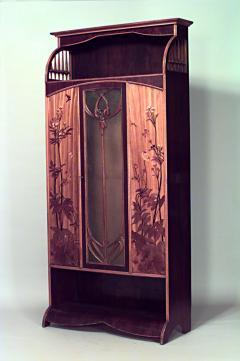 Louis Majorelle French Art Nouveau Walnut and Inlaid Floral Design 3 Door Armoire Cabinet - 465219