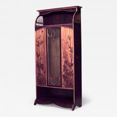 Louis Majorelle French Art Nouveau Walnut And Inlaid Floral Design 3 Door  Armoire Cabinet   470424