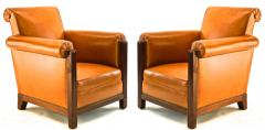 Louis Majorelle Louis Majorelle pair of comfy Art Deco club chairs newly restored in leather - 1519808