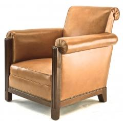 Louis Majorelle Louis Majorelle pair of comfy Art Deco club chairs newly restored in leather - 1519810