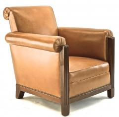 Louis Majorelle Louis Majorelle pair of comfy Art Deco club chairs newly restored in leather - 1519811
