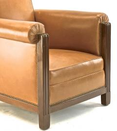 Louis Majorelle Louis Majorelle pair of comfy Art Deco club chairs newly restored in leather - 1519812