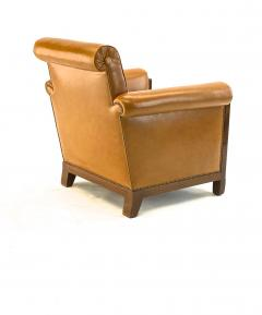 Louis Majorelle Louis Majorelle pair of comfy Art Deco club chairs newly restored in leather - 1519813