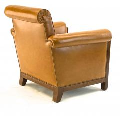 Louis Majorelle Louis Majorelle pair of comfy Art Deco club chairs newly restored in leather - 1519814