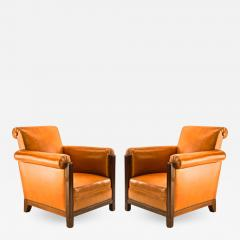 Louis Majorelle Louis Majorelle pair of comfy Art Deco club chairs newly restored in leather - 1525466