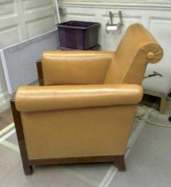 Louis Majorelle Majorelle art deco exceptional 4 club chair fully restored in fauve leather - 414419