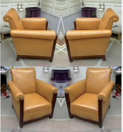 Louis Majorelle Majorelle art deco exceptional 4 club chair fully restored in fauve leather - 414428