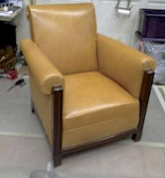 Louis Majorelle Majorelle art deco exceptional 4 club chair fully restored in fauve leather - 414429