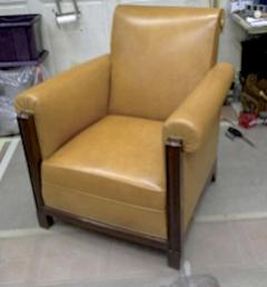 Louis Majorelle Majorelle art deco exceptional 4 club chair fully restored in fauve leather - 414439