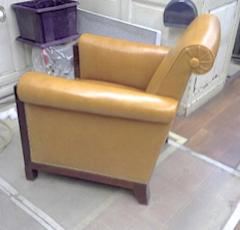 Louis Majorelle Majorelle art deco exceptional 4 club chair fully restored in fauve leather - 414440
