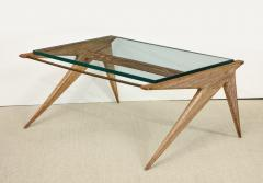 Louis Paolozzi LOW OAK AND GLASS TABLE BY LOUIS PAOLOZZI - 1674630
