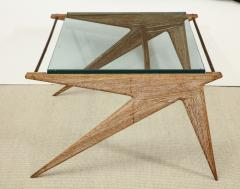 Louis Paolozzi LOW OAK AND GLASS TABLE BY LOUIS PAOLOZZI - 1674632