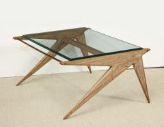 Louis Paolozzi Low Oak and Glass Table by Louis Paolozzi - 1466661