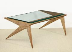 Louis Paolozzi Low Oak and Glass Table by Louis Paolozzi - 1466662