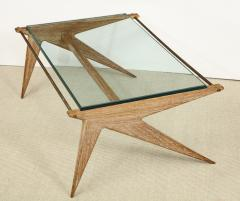 Louis Paolozzi Low Oak and Glass Table by Louis Paolozzi - 1466664