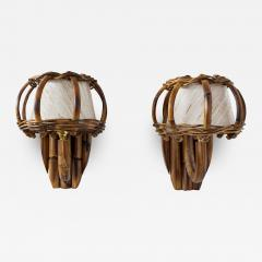 Louis Sognot BAMBOO WALL SCONCES ATTRIBUTED TO LOUIS SOGNOT - 1636240