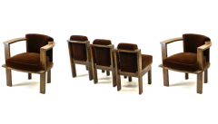 Louis Sognot Louis Sognot rarest modernist oak office chair and seat set - 1528448