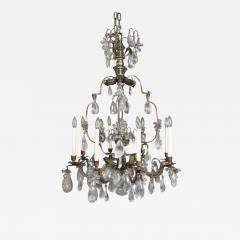 Louis XV Gilded Wrought Iron and Rock Crystal Chandelier - 1533651