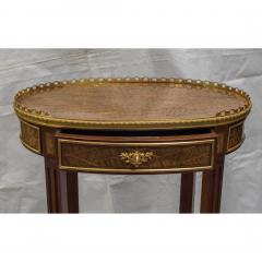 Louis XV Style Ormolu Mounted Inlaid Tulipwood and Mahogany Galleried Oval Table - 1567217