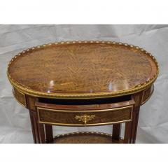 Louis XV Style Ormolu Mounted Inlaid Tulipwood and Mahogany Galleried Oval Table - 1567219