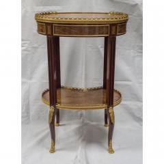 Louis XV Style Ormolu Mounted Inlaid Tulipwood and Mahogany Galleried Oval Table - 1567220