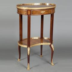 Louis XV Style Ormolu Mounted Inlaid Tulipwood and Mahogany Galleried Oval Table - 1567221