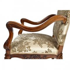 Louis XV Walnut Fauteuil Arm Chair 19th C French - 167832