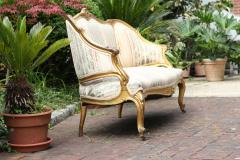 Louis XVI Gilt Carved Settee 19th Century France - 1638551