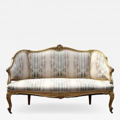 Louis XVI Gilt Carved Settee 19th Century France - 1640695