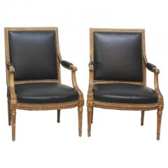Louis XVI Style Giltwood Fauteuils Armchairs - 1944695