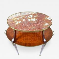 Louis XVI Style Inlaid Two Tier Ormolu Mounted Dessert Table - 171465