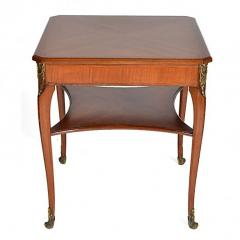 Louis XVI Style Square Two Tier Satinwood Center Table - 163791